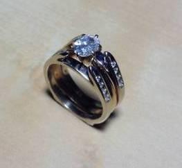Vintage Oval Diamond Ring Engagement Set Solitaire 14k Plus Wrap Women